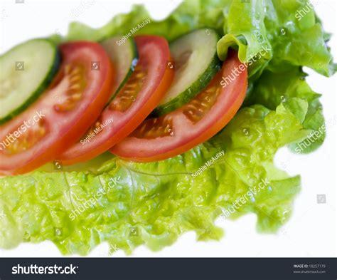 cucumber salad decoration lettuce cucumber tomato salad decoration stock photo