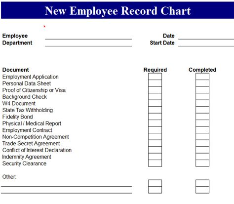 employee record chart  excel templates
