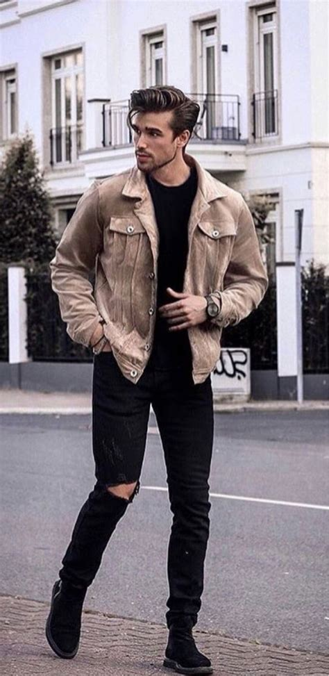 Fall Combo With Brown Suede Jacket Black Shirt
