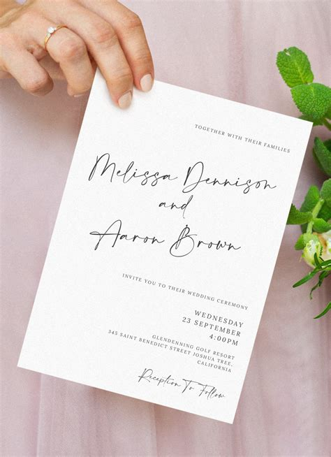 Download Printable Simple Script Formal Wedding Invitation