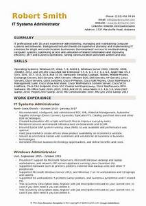 Business Analysis Resumes It Systems Administrator Resume Samples Qwikresume