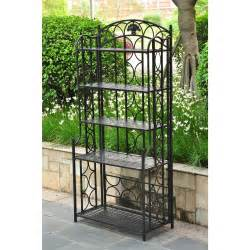 indoor new outdoor wrought iron metal bakers rack 5 shelf