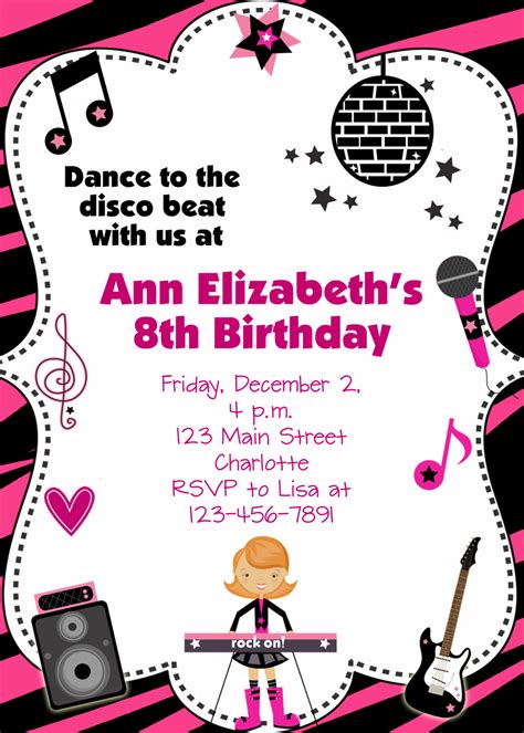 kids dance party invitations