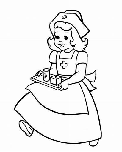 Nurse Coloring Pages Drawing Clipart Sketch Nurses
