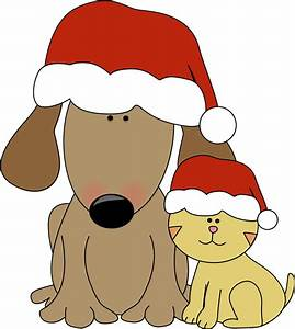 Christmas Dog and Cat Clip Art - Christmas Dog and Cat Image
