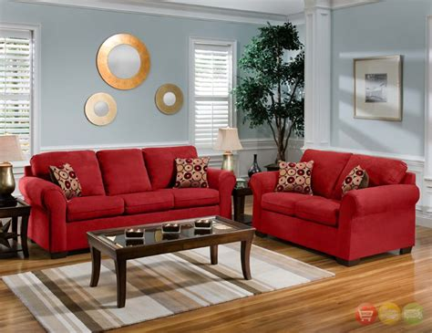casual red microfiber sofa love seat living room