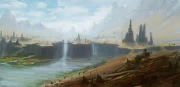 Waterfall, Landscape, Digital Art, Cliff, Nature Wallpaper