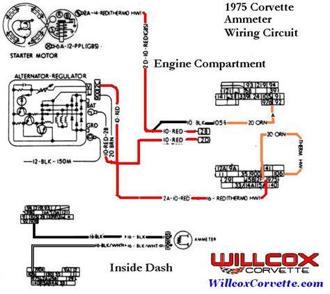 corvette ammeter wiring circuit willcox corvette