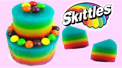 rainbow jello skittles cake     gummy jelly