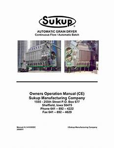 Owners Operation Manual  Ce  Sukup Manufacturing Company