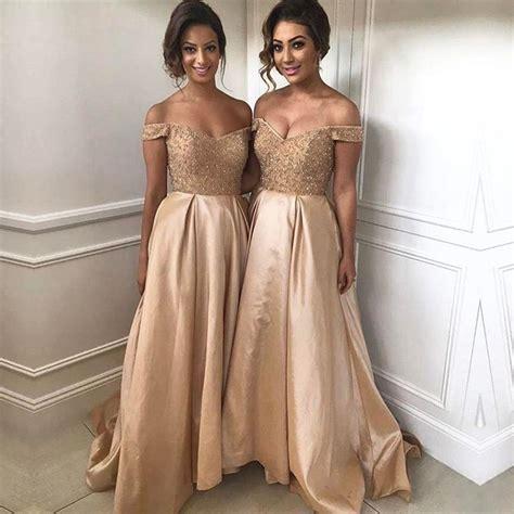 Gold Sequins Beads V Neck Long Satin Bridesmaid Dresses