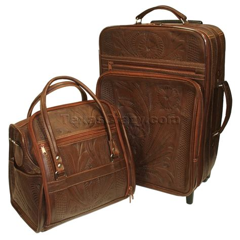 ladies tooled leather luggage set brown texas western store
