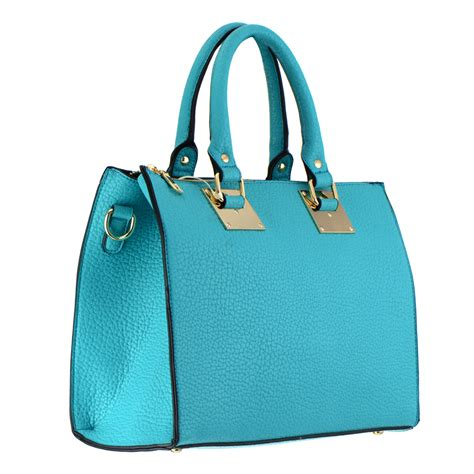 turquoise home accents faux leather handbag 35385 turquoise