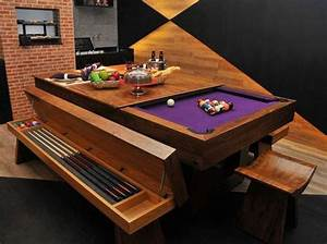 Strange pool table converts into beautiful dining room for Pool table dining room table