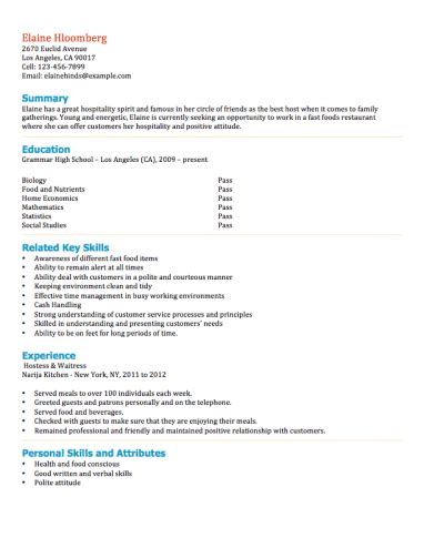 resume examples teenager  resume examples