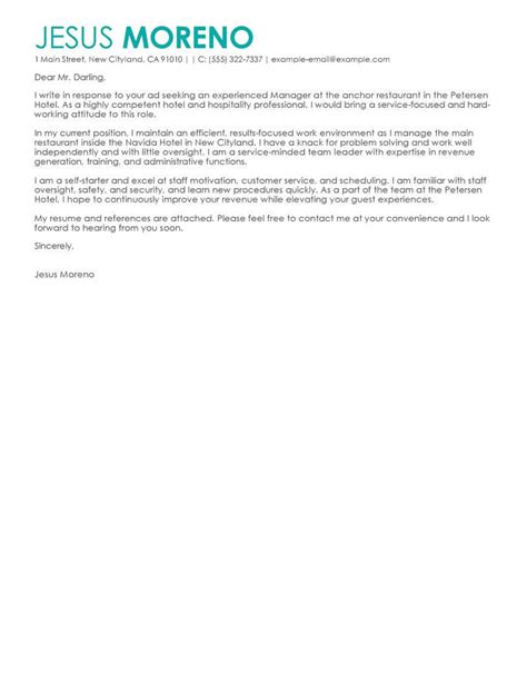 hotel hospitality cover letter examples livecareer