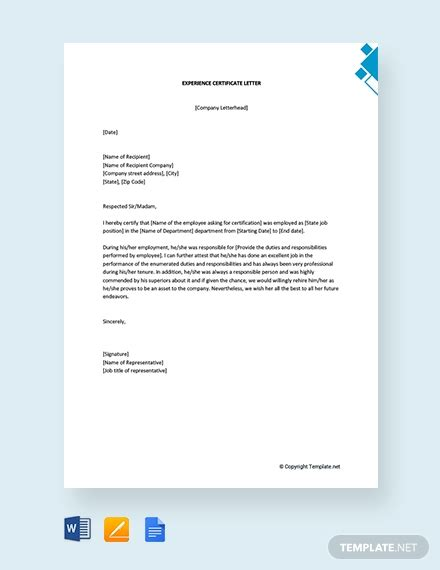 experience letter  employee template