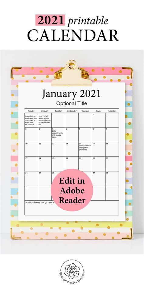 printable calendar fillable planner editable