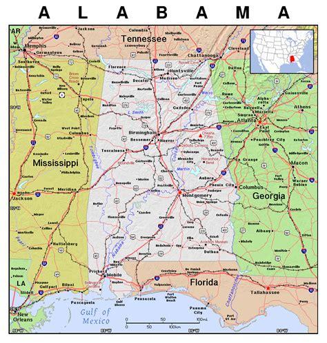 detailed map  alabama state alabama state detailed map