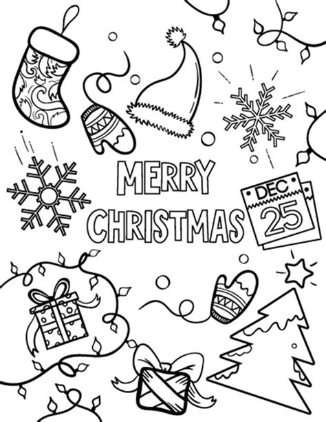 Free Printable Santa Merry Christmas (Xmas) Coloring Pages