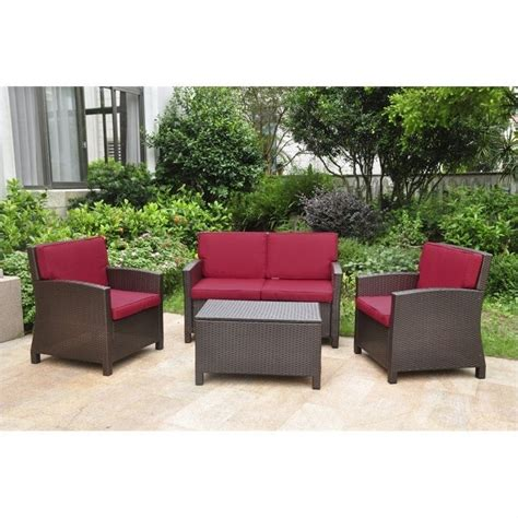 Patio Settee by 4 Outdoor Patio Settee Set In Chocolate And Merlot