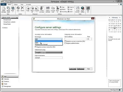 setting up your pop imap mailbox in windows live mail