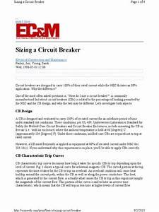 Sizing Circuit Breaker
