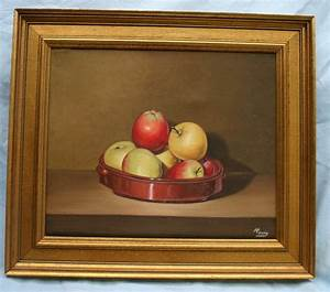 Still Life After Apples Oil On Canvus Painting Signed M