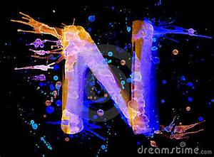 Neon Watercolor Paint Letter N Stock s Image