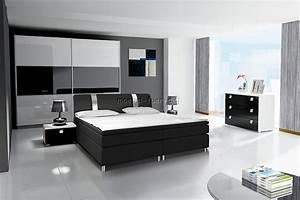 Design Schlafzimmer Komplett : komplett schlafzimmer rivabox in hochglanz mit boxspringbett wei schwarz ebay ~ Bigdaddyawards.com Haus und Dekorationen