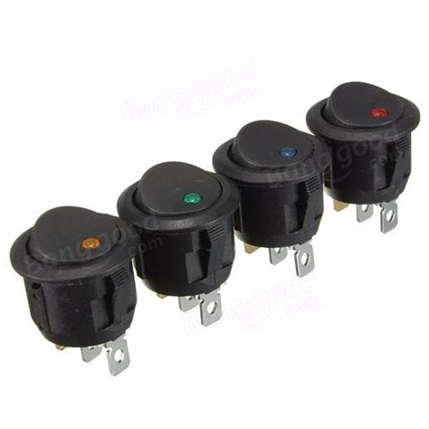 Pins Car Round Off Rocker Push Button Switch Led