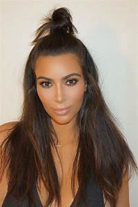Kim Kardashian Straight Dark Brown Bun, Half-Up Half-Down ...