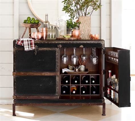 Home Bar Cupboard by Ludlow Trunk Bar Cabinet Pottery Barn