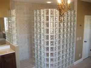 Doorless showers with glass blocks in Houston Texas