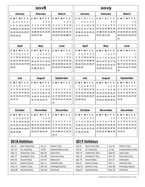 2018 2019 academic calendar template two year calendar template 2018 and 2019 free printable templates