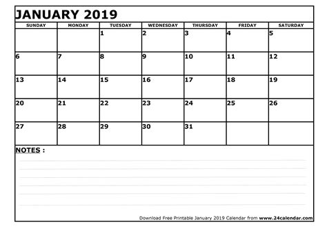 Blank January 2019 Calendar In Printable Format