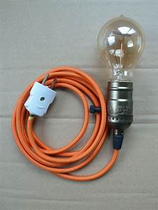 Vintage Edison Lamp With Antique Cord  U0026 Bulb Plug In Style