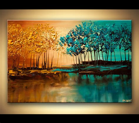 original abstract paintings by osnat modern landscape textured blooming trees painting