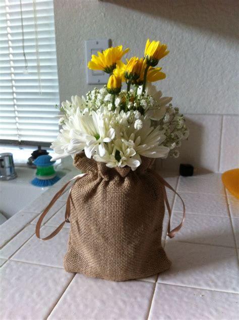 centerpiece  western theme luncheon burlap sacks   michaels mason jar