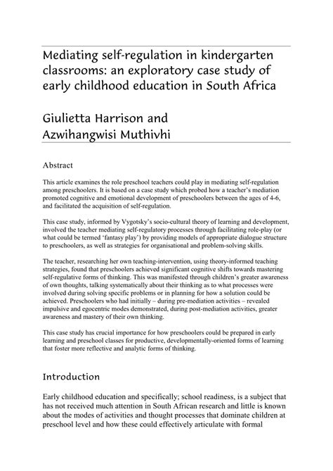 marvelous early childhood education research paper