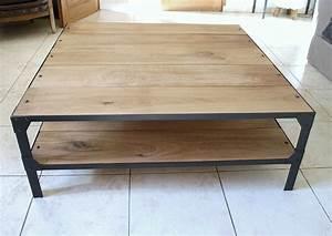 Table Carrée 120x120 : table basse acier bois ~ Teatrodelosmanantiales.com Idées de Décoration