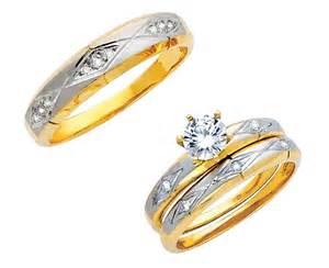 14k two tone gold round cut simulated diamond trio wedding With two tone diamond wedding ring sets