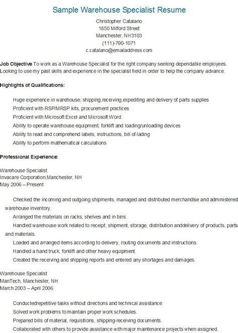 Best Warehouse Resume by Sle Warehouse Specialist Resume Resame Sle