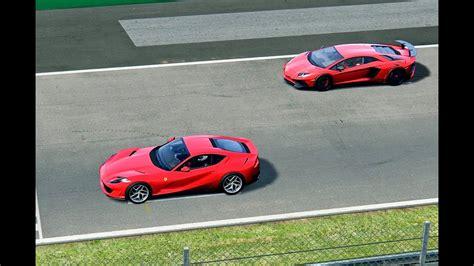 Both offer peak power at 8500rpm: Ferrari 812 Supefast vs Lamborghini Aventador SuperVeloce - Monza - YouTube