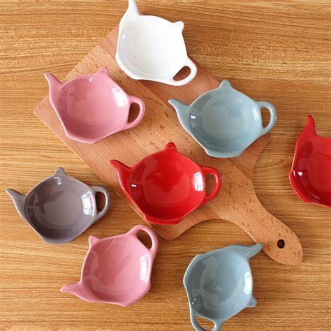 4pc Tea bags holder coasters spoon resting caddy ceramic