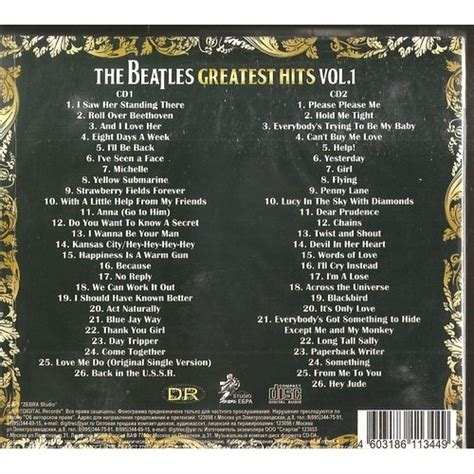Greatest Hits Vol 1 By The Beatles, Cd X 2 With