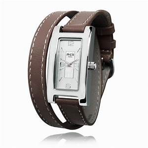 montre cuir bracelet double With bracelet homme