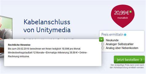 unitymedia hebt preis fuer kabelanschluss