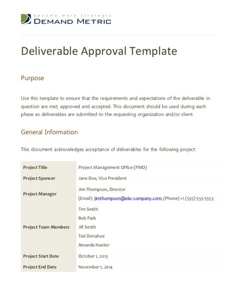 Project Deliverable Template by Deliverable Approval Template