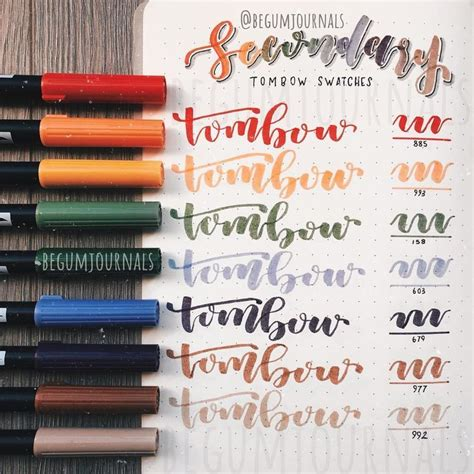 tombow dual brush  swatches secondary pack